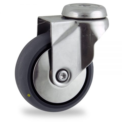 Stainless swivel castor 100mm for light trolleys,wheel made of electric conductive grey rubber,plain bearing.Bolt hole fitting