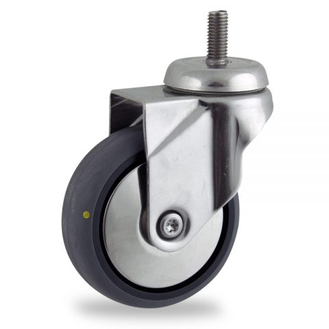 Stainless swivel castor 125mm for light trolleys,wheel made of electric conductive grey rubber,double ball bearings.Bolt stem fitting