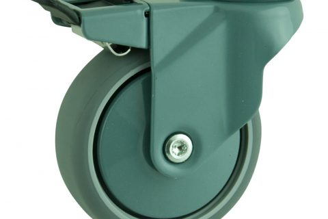 Coloured total lock castor 100mm for light trolleys,wheel made of grey rubber,plain bearing.Bolt hole fitting