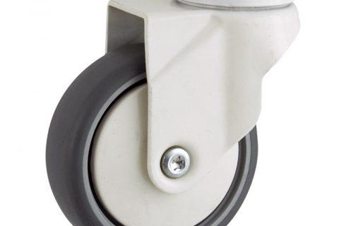 Coloured swivel castor 100mm for light trolleys,wheel made of grey rubber,plain bearing.Bolt hole fitting