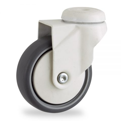 Coloured swivel castor 100mm for light trolleys,wheel made of grey rubber,plain bearing.Bolt hole fitting