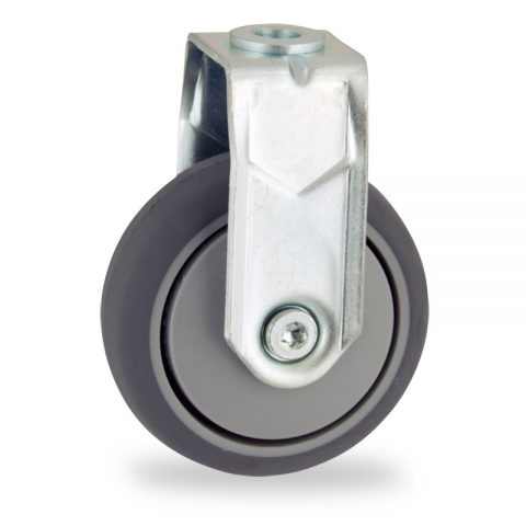 Zinc plated fixed castor 75mm for light trolleys,wheel made of grey rubber,plain bearing.Bolt hole fitting