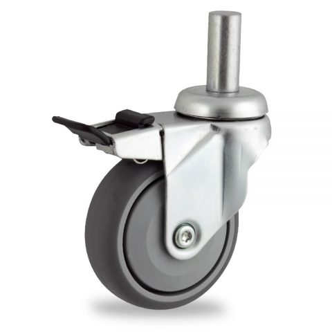 Zinc plated total lock castor 100mm for light trolleys,wheel made of grey rubber,single precision ball bearing.Fitting with round stem 20x45mm