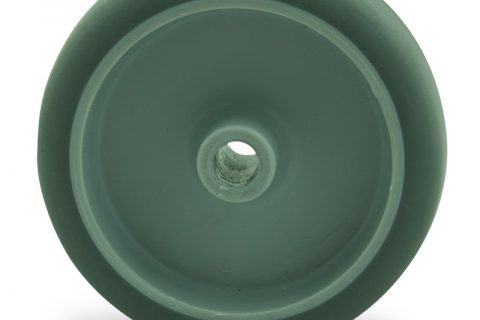 Wheel 125mm for light trolleys made from grey rubber,plain bearing.