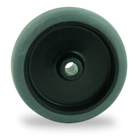 Wheel 50mm for light trolleys made from grey rubber,plain bearing.