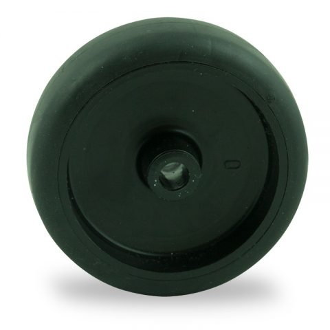Wheel 75mm for light trolleys made from black rubber,plain bearing.