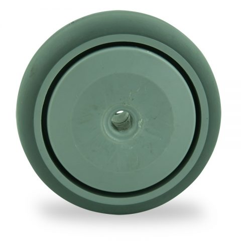 Wheel 75mm for light trolleys made from grey rubber,single precision ball bearing.