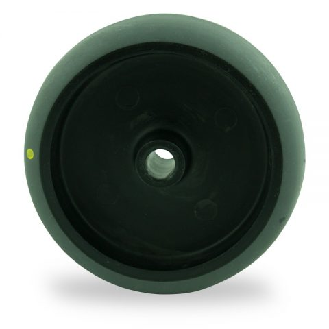 Wheel 125mm for light trolleys made from electric conductive grey rubber,plain bearing.