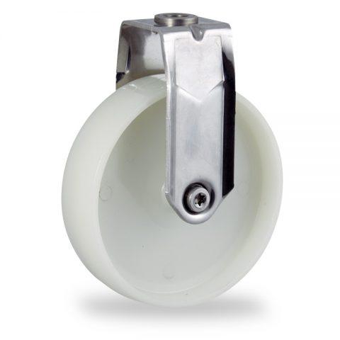 Stainless fixed castor 150mm for light trolleys,wheel made of polyamide,plain bearing.Bolt hole fitting