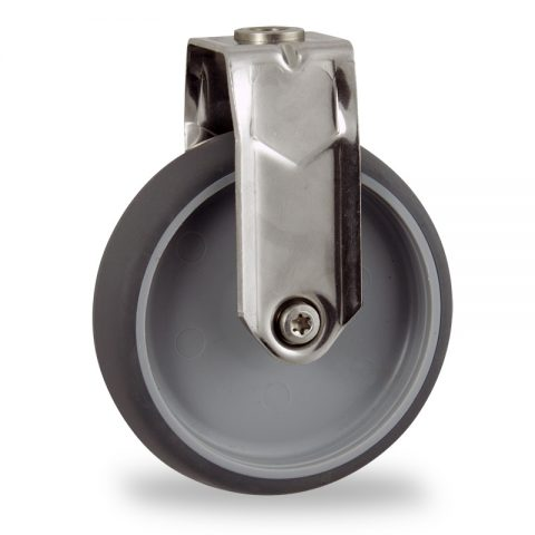 Stainless fixed castor 100mm for light trolleys,wheel made of grey rubber,double ball bearings.Bolt hole fitting