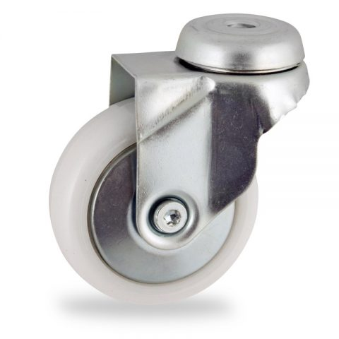Zinc plated swivel castor 50mm for light trolleys,wheel made of polyamide,plain bearing.Bolt hole fitting