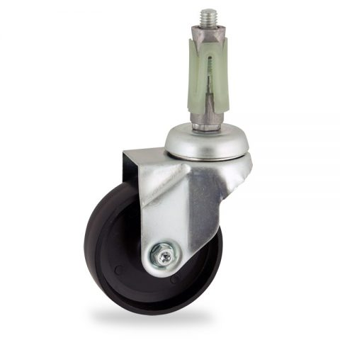 Zinc plated swivel castor 125mm for light trolleys,wheel made of polypropylene,plain bearing.Fitting with round expander 26/30