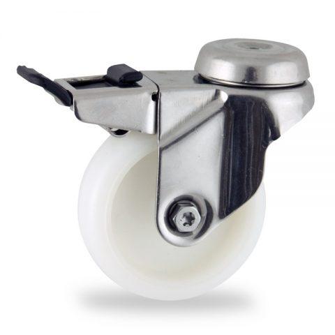 Stainless total lock castor 75mm for light trolleys,wheel made of polyamide,plain bearing.Bolt hole fitting