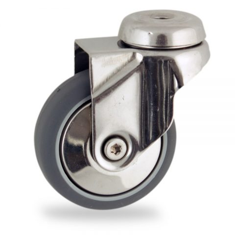Stainless swivel castor 100mm for light trolleys,wheel made of grey rubber,double ball bearings.Bolt hole fitting