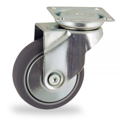 Zinc plated swivel castor 75mm for light trolleys,wheel made of grey rubber,double ball bearings.Top plate fitting