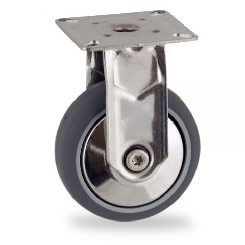 Stainless fixed castor 75mm for light trolleys,wheel made of grey rubber,double ball bearings.Top plate fitting