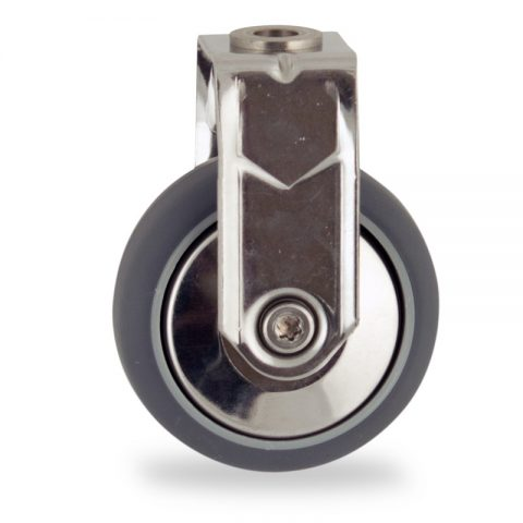 Stainless fixed castor 100mm for light trolleys,wheel made of grey rubber,plain bearing.Bolt hole fitting