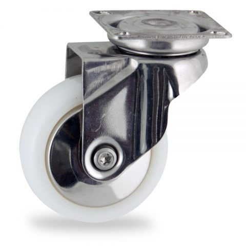 Stainless swivel castor 75mm for light trolleys,wheel made of polyamide,plain bearing.Top plate fitting