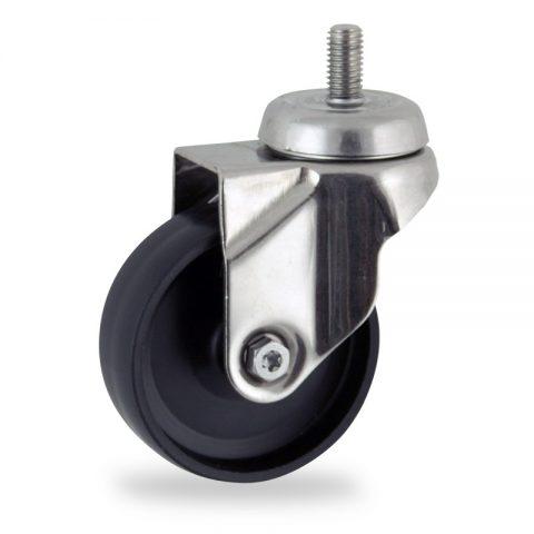 Stainless swivel castor 100mm for light trolleys,wheel made of polypropylene,plain bearing.Bolt stem fitting