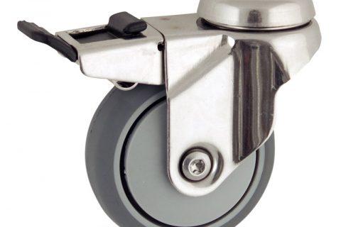 Stainless total lock castor 75mm for light trolleys,wheel made of grey rubber,plain bearing.Bolt hole fitting
