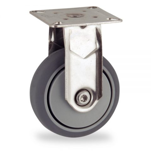 Stainless fixed castor 75mm for light trolleys,wheel made of grey rubber,plain bearing.Top plate fitting