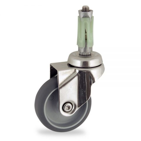 Stainless swivel castor 50mm for light trolleys,wheel made of grey rubber,plain bearing.Fitting with round expander 26/30