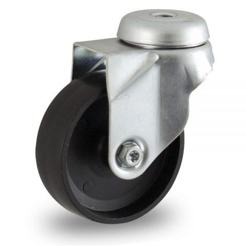 Zinc plated swivel castor 125mm for light trolleys,wheel made of polypropylene,plain bearing.Bolt hole fitting