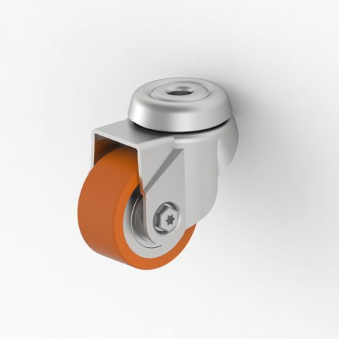 Zinc plated swivel castor 50mm for heavy duty,wheel made of Polyurethane,double ball bearings.Bolt hole fitting