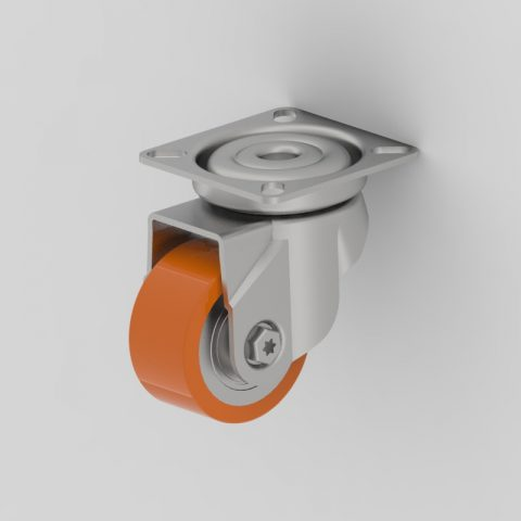 Zinc plated swivel castor 50mm for heavy duty,wheel made of Polyurethane,double ball bearings.Top plate fitting
