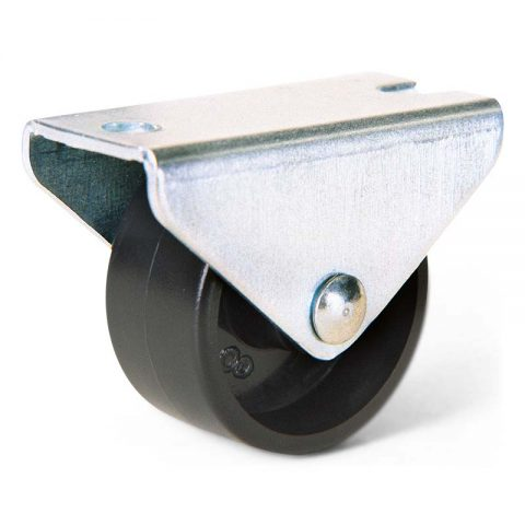 Small fixed wheel for furniture 30mm with top plate 45x20mm
