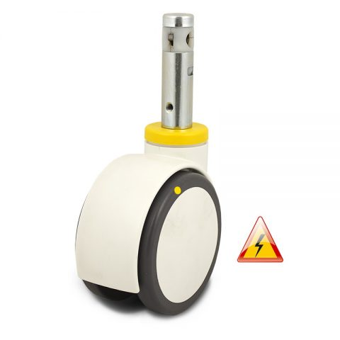 Double castor for hospital bed 150mm, wheel electric conductive polyurethane with rim of polyurethane