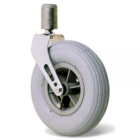 Castor for wheelchair 175mm, grey rubber with ball bearing, stem fitting