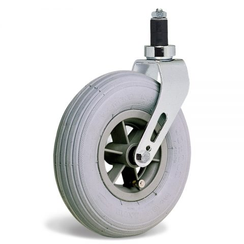 Castor for wheelchair 200mm, grey rubber with ball bearing, expander fitting