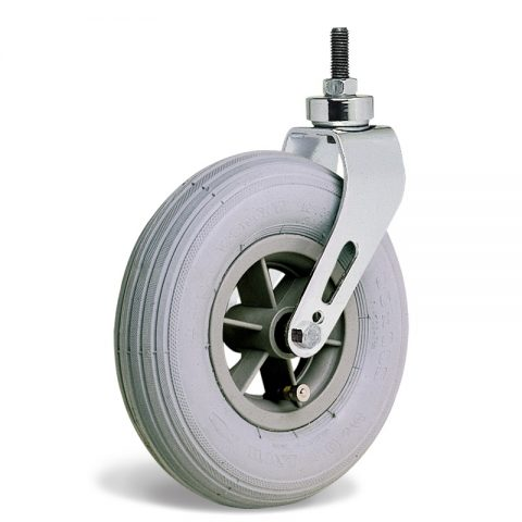 Castor for wheelchair 200mm, grey rubber with ball bearing, bolt stem fitting