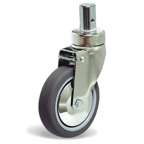 Stainless castor for hospital bed 125mm with total lock, wheel synthetic grey rubber with rim of polypropylene