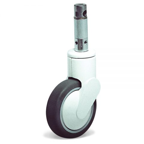 Castor for hospital bed 125mm with total lock, wheel synthetic grey rubber with rim of polypropylene