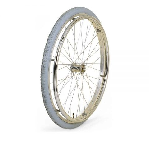 Wheel for wheelchair 500mm with pneumatic grey rubber and steel spoked center