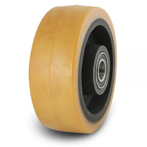Support wheel for electric pallet truck 180mm from polyurethane with ball bearings for machines Linde and axle 25mm