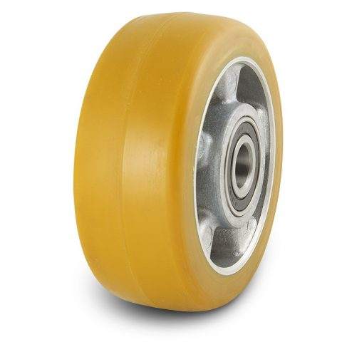 Support wheel for electric pallet truck 230mm from polyurethane with ball bearings for machines Genkinger and axle 25mm