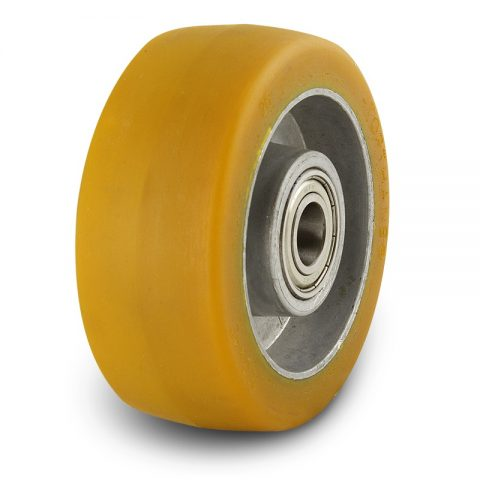 Support wheel for electric pallet truck 125mm from polyurethane with ball bearings for machines Still-Wagner and axle 20mm