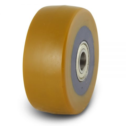 Support wheel for electric pallet truck 125mm from polyurethane with ball bearings for machines Jungheinrich,Linde,Fewick,Still-Wagner and axle 20mm