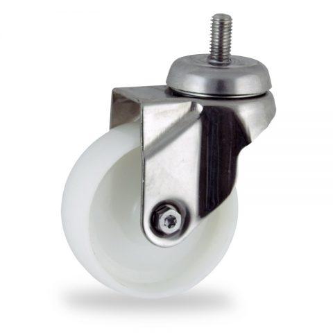 Stainless swivel castor 125mm for light trolleys,wheel made of polyamide,plain bearing.Bolt stem fitting