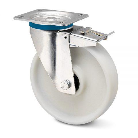 Ανοξείδωτη ρόδα με φρένο για καρότσι 125mm από νάυλον+fiber glass με σφαιρικά ρουλεμάν.Προσαρμογή με πλάκα.