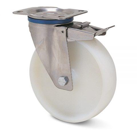 Ανοξείδωτη ρόδα με φρένο  για καρότσι 80mm από νάυλον με μακαρωνοτό ρουλεμάν.Προσαρμογή με πλάκα.