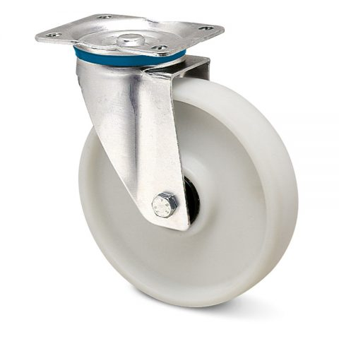 Stainless swivel castor for trolleys.Polyamide fiber glass with  and Stainless Double ball bearings.Top plate fitting