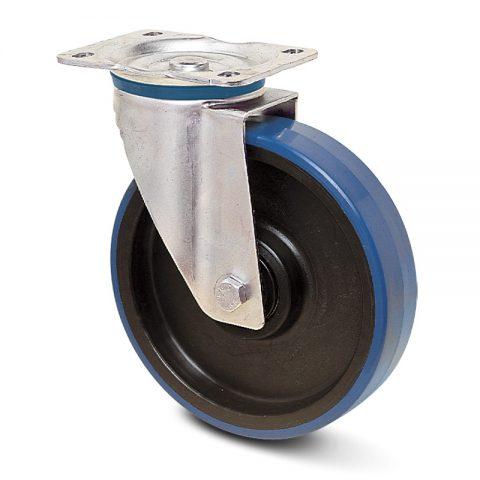 Ανοξείδωτη περιστρεφόμενη ρόδα για καρότσι 100mm από πλαστική πολυουρεθάνη χωρίς ρουλεμάν.Προσαρμογή με πλάκα.