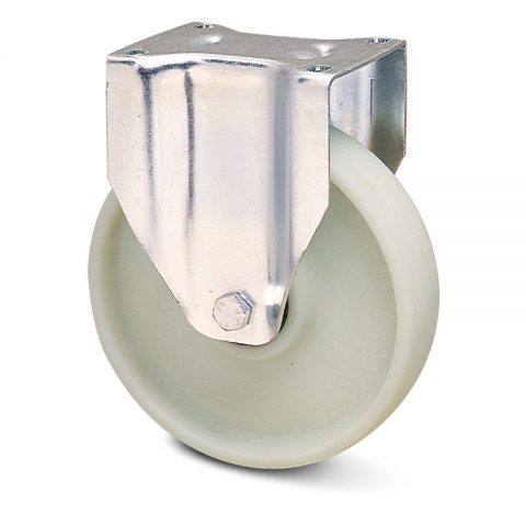Stainless fixed castor for trolleys.Polyamide fiber glass with  and Plain bearing.Top plate fitting