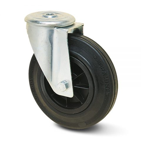 Zinc plated industrial swivel castor for trolleys.Black rubber with polyamide rim and Plain bearing.Bolt hole fitting