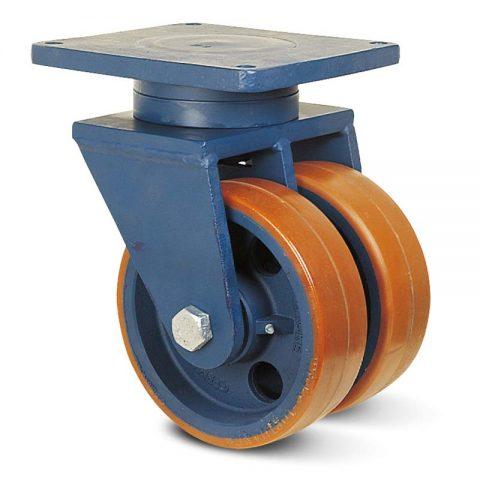 Περιστρεφόμενη ρόδα βαρέως τύπου 125mm από πολυουρεθάνη με ζάντα χυτοσίδηρη με σφαιρικά ρουλεμάν.Προσαρμογή με πλάκα.