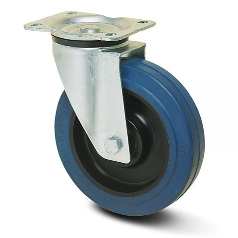 Zinc plated industrial swivel castor for trolleys.Non marking elastic rubber with polyamide rim and roller bearing.Top plate fitting